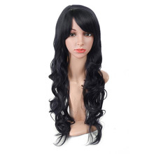Aigenei Synthetic Long Wave Wig 20 Inch Black Brown No Lace With Bang Wig High Temperature Fiber Heat Resistant  For Women цена