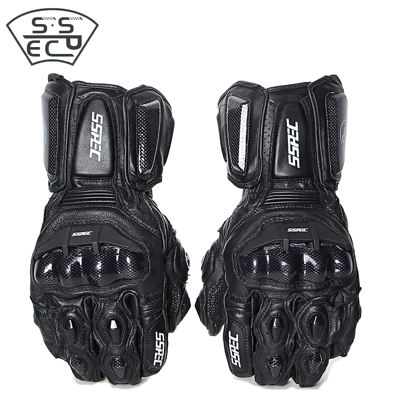 SSPEC Leather Motorcycle Gloves full finger racing gloves Carbon Fiber protector gloves