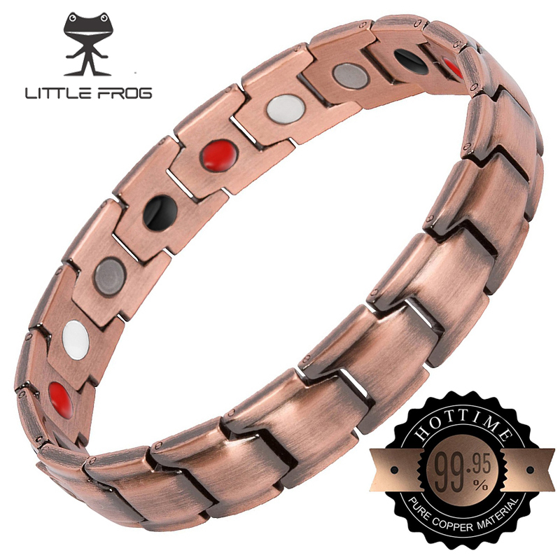 LITTLE FROG Vintage Copper Magnetic Bracelet for Men / Women 2 Row Magnet Energy Healing Bangles Fashion Jewelry Male Wristbands