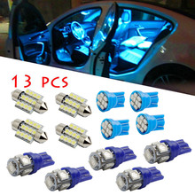 13Pc Auto LED Lamps For Cars Led Lights For Auto LED Lights Interior Package Kit Pure Blue For Dome License Plate Lamp Bulb