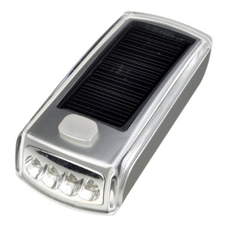 4 LED Solar Energy Top Switch ON/OFF USB Charging Silver Black SOS Flash Direct Riding Necessary Bike Accessories