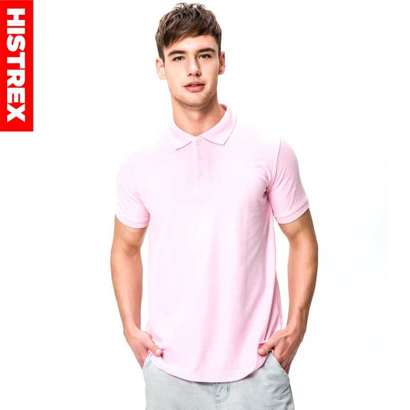 HISTREX Men Brand Polo Shirt For Mens Polos 100% Cotton Poloshirt Short Sleeve Solid Shirts Clothes Pink Wine Blue Grey Red