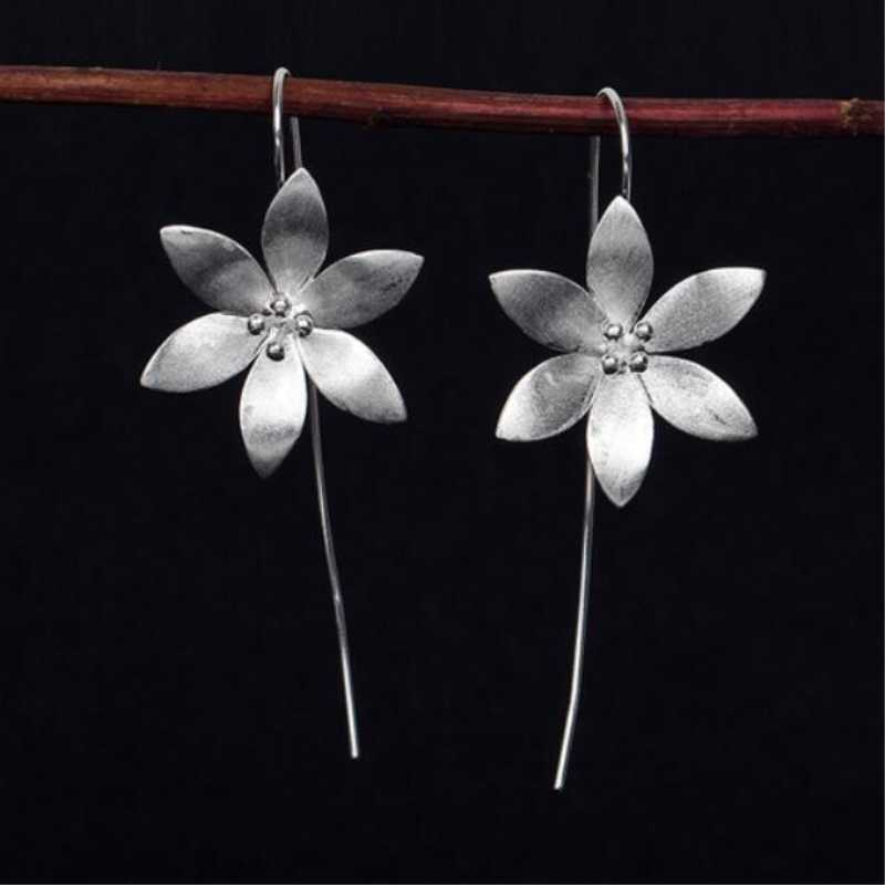 Thai Craft Handmade Lotus 925 Sterling Silver Temperament Personality Fashion Female Earring SEA030
