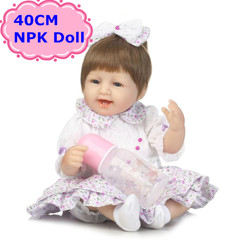 New Arrival NPK 40CM Baby Reborn Doll Soft Silicone Alive Smile Bebe With Blond Hair Toys For Girls Birthday/Xmas Gift Brinquedo