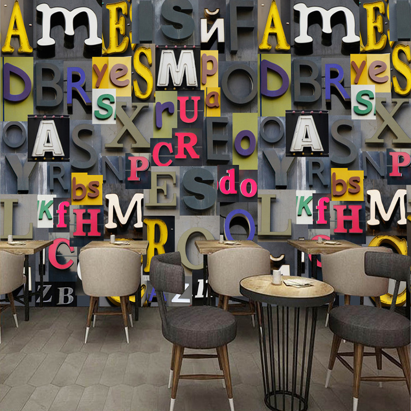 3D Wallpaper European Style Relief Colorful English Letter Photo Wall Murals Cafe Bar KTV Restaurant Backdrop Wall Papel Murals