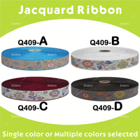 10 yards 40 yards 4 Colors Beautiful Flowers Design 7/8 22mm Woven Jacquard Ribbons Q409