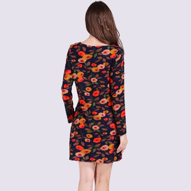 Idealark Print long Sleeve Crew Neck Sheath Knee Length Dress plus size Autumn spring casual Dresses 2017 Elastic Dress WC0592