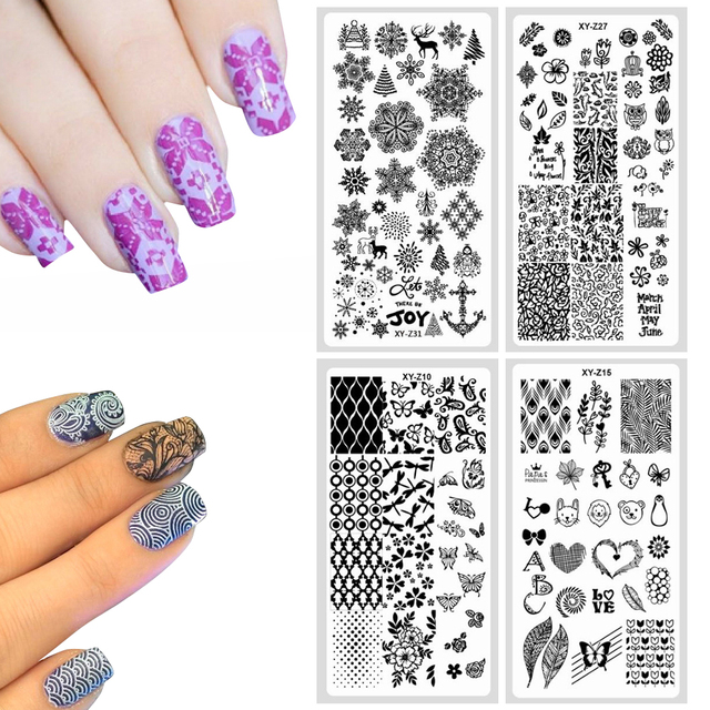 1PC Nail Stamping Plates DIY Flower Pattern Art Image Paint Print Stencil 32 Designs