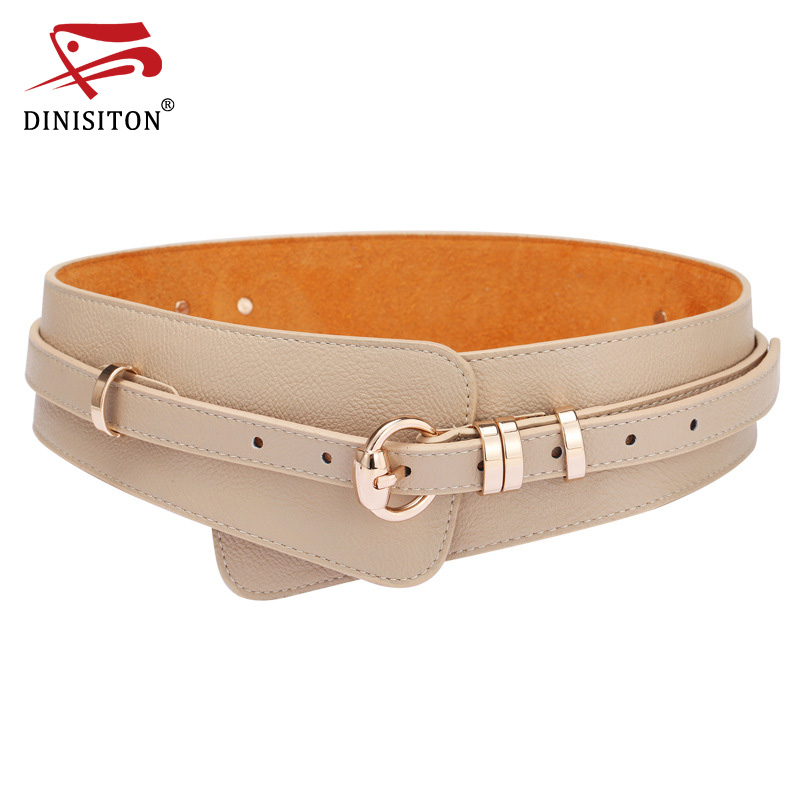 DINISITON  Womens Fashion PU Leather Lady Wide Waist Wide Waistband Bind Wide Belts Women Belt Dress Adornment YF005