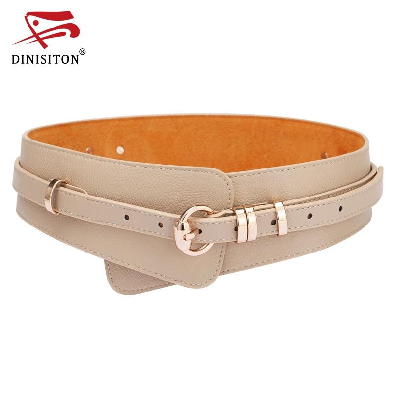 DINISITON  Womens Fashion PU Leather Lady Wide Waist Wide Waistband Bind Wide Belts Women Belt Dress Adornment YF005
