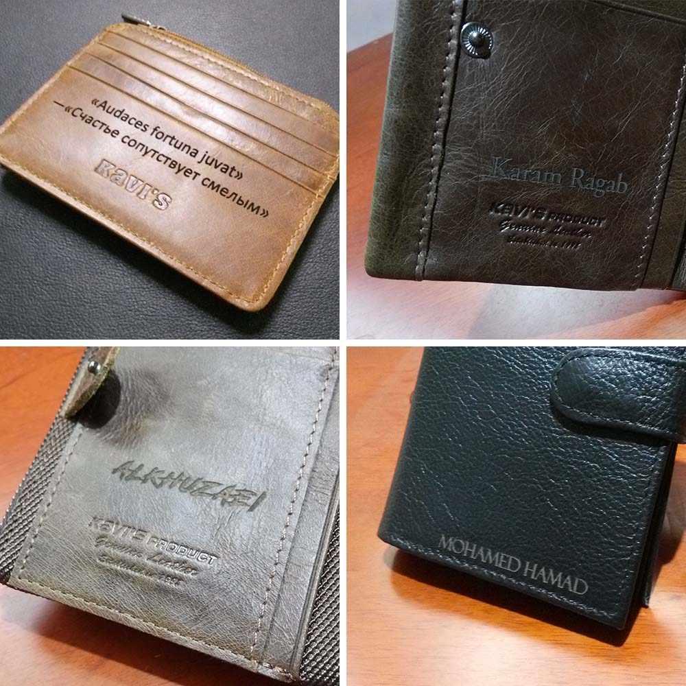 KAVIS New Free Engraving Trifold Genuine Leather Wallet Men Coin Purse Male Cuzdan Portomonee PORTFOLIO Card Holder Crazy Horse