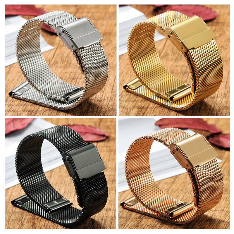 neway Stainless Steel Watch Band Milanese Strap Wrist Watchband Safety Buckle Black Rose Gold Silver 14mm 16mm 18mm 20mm 22mm top quality new stainless steel strap 18mm 13mm flat straight end metal bracelet watch band silver gold watchband for brand