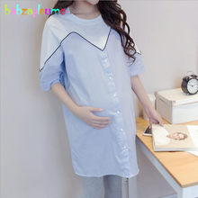 f10c376b6e3 babzapleume 2018 Summer Korean Pregnant Women Dress Plus Size Loose Pregnancy  Clothes Clothing Casual Maternity Dresses BC1702-1