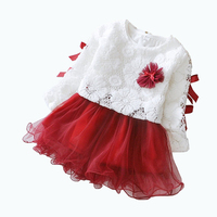 Korean Flower Girl Baby Lace Princess Dresses Children Dress Lovely Kids Clothing Girl Dress Fall Long