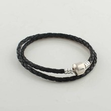 Leather Bracelets 100% Sterling-Silver DIY Jewelry Black Bracelets With Clip Clasp Compatible With Original Charms & Beads