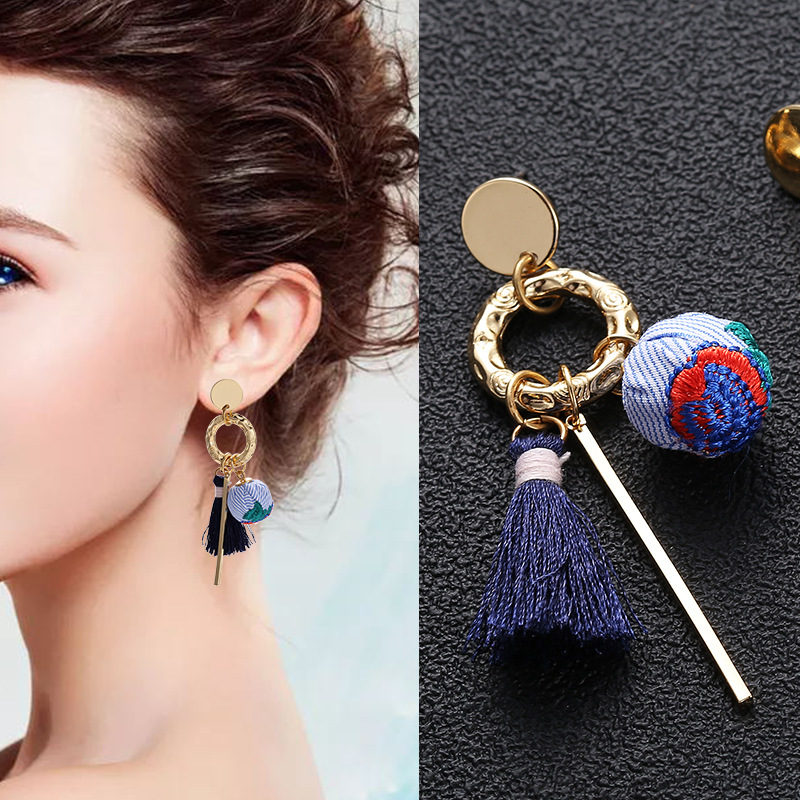New Style boho Drop Earrings Embroidery Ball Tassel Long Earrings For Women jewelry 2019 New oorbellen