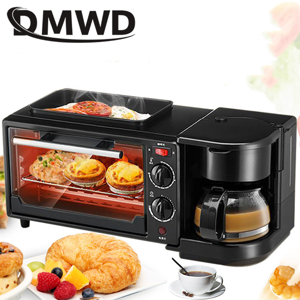 DMWD household electric 3 in 1 Breakfast Making machine Multifunction mini drip coffee maker bread pizza oven frying pan toaster dmwd mini toaster electric oven multifunction timer making biscuits bread cake pizza cookies baking machine 12l liter 900w eu us page 3