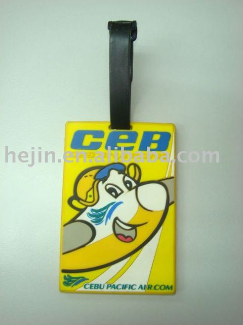 free shipping of 3d logo soft pvc luggage tag