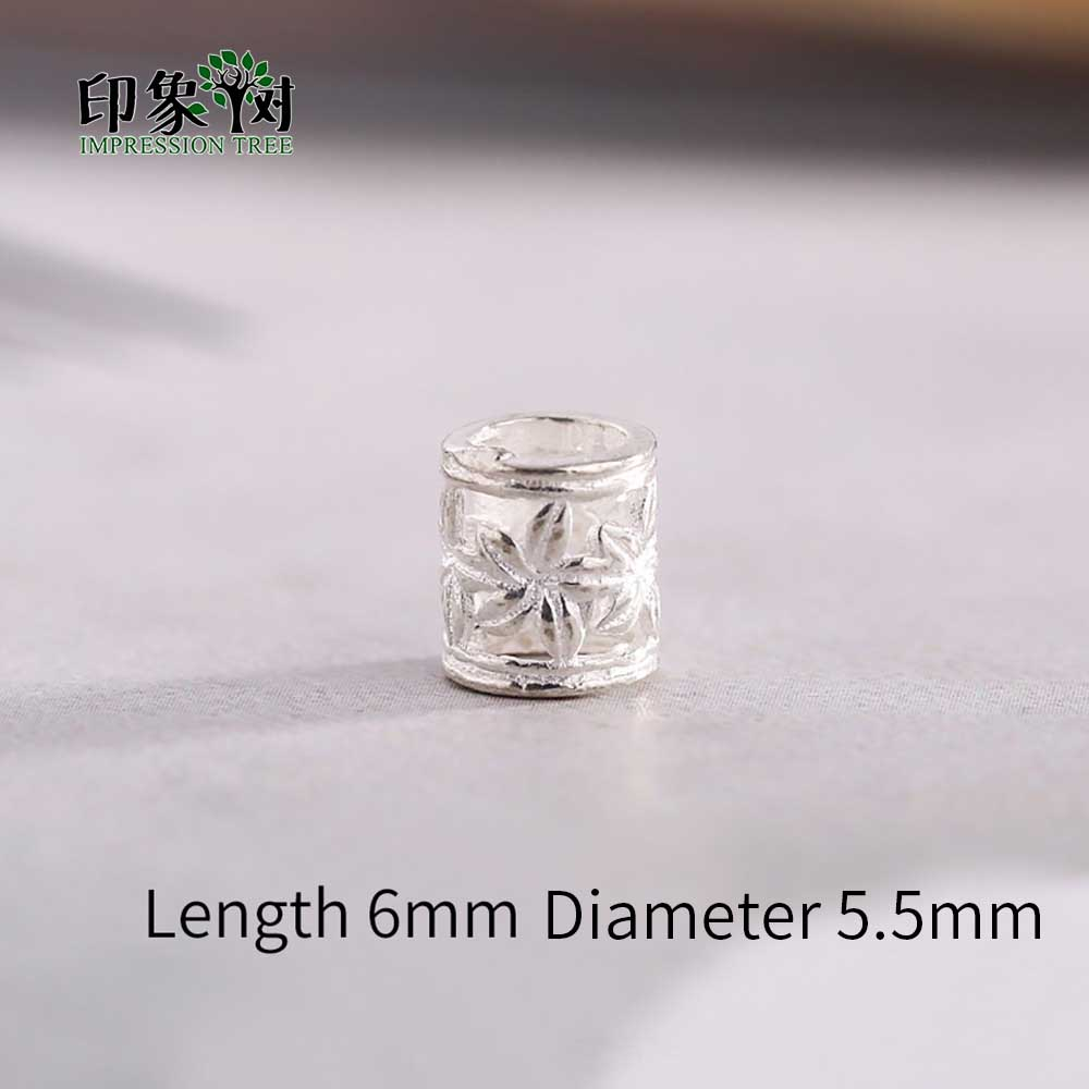 2pcs 6x5.5mm 925 Sterling Silver Cylinder Flower Pattern Spacer Beads For Necklace DIY Jewelry Makings 92553