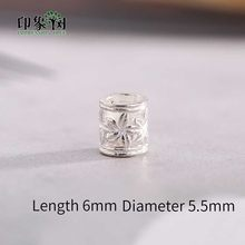 2pcs 6x5.5mm 925 Sterling Silver Cilindro Padrão de Flor Spacer Beads Para Colar Jóias DIY Makings 92553(China)