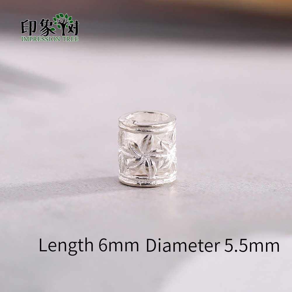 2pcs 6x5.5mm 925 Sterling silver Cilindro di colore Del Modello di Fiore Branelli Del Distanziatore Per La Collana di Gioielli FAI DA TE Stoffa 92553