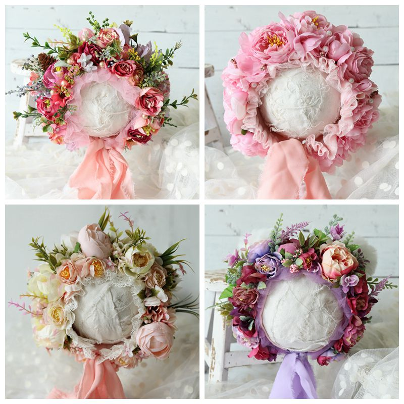 Newborn Flowers Florals Hat Baby Photography Props Handmade Colorful Bonnet Hat