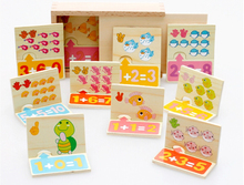 hot deal buy early education series wooden figure blocks math toy board match game children's intelligence learning blocks brinquedos w063