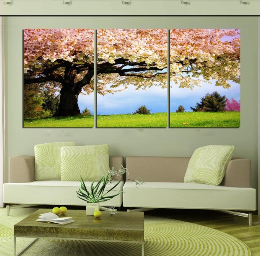 Large Wall Pictures For Living Room: 3 Pieces Wall Art Canvas Romantic Tree Picture Canvas