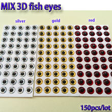 2019MIX fishing lure eyes fly fishing fish eyes fly tying material ,lure baits making silver+gold+red mix toatl 150pcs/lot