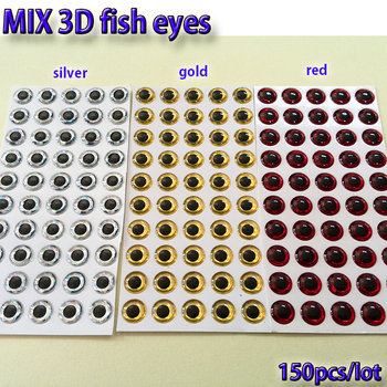 2019MIX fishing lure eyes fly fish tying material ,lure baits making silver+gold+red mix toatl 150pcs/lot