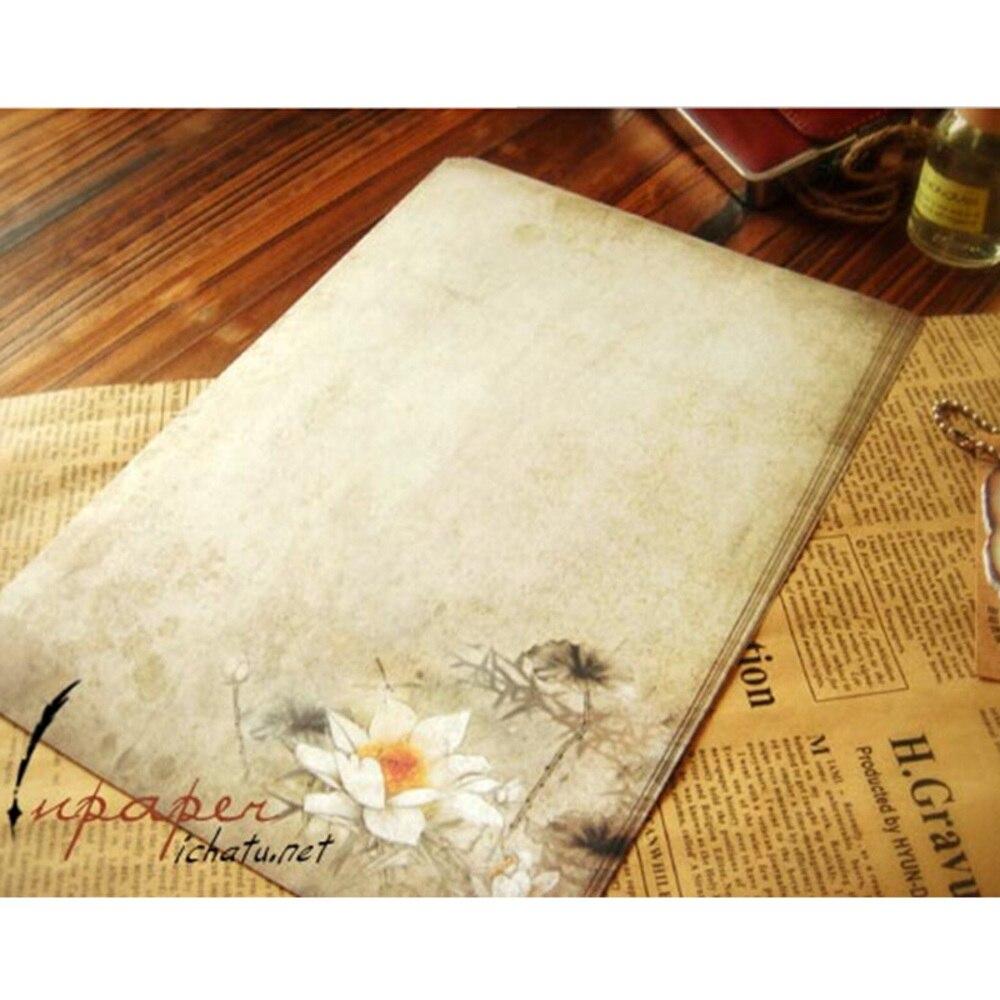16 pcs/lot vintage lotus letter paper stationery writing paper letter set  school office supplies