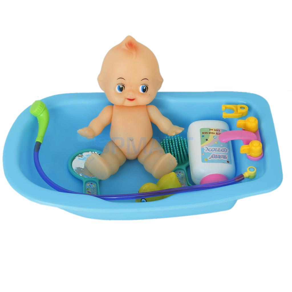 Plastic Baby Doll in Bath Tub with Shower Accessories Set Kids Role ...