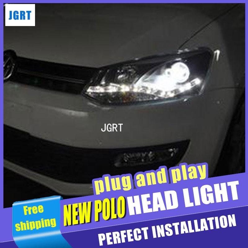 Стайлинга автомобилей передняя фара в сборе 2011-2013 для VW новый поло захотите никуда уходить глаза Ангела СИД DRL объектива с двойным Луч H7 спрятал комплект 2шт.