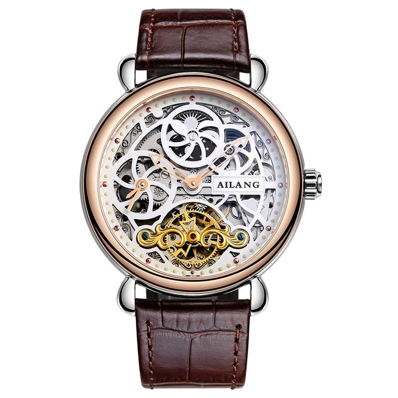 лучшая цена AILANG 6815 Switzerland watches men luxury brand automatic moon phase hollow skeleton waterproof fashion trend business watch