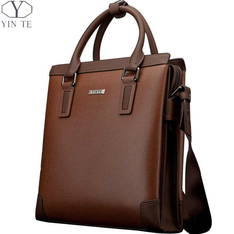 YINTE Fashion Men's Handbag Leather Men Briefcase Business Leather Brown Bag Messenger Shoulder Bags Men Totes Portfolio T8369-3 yinte leather men s briefcase black bag fashion business messenger totes laptop bag ostrich prints men s portfolio t8518 6