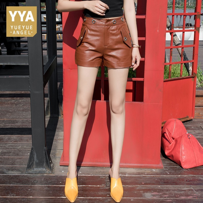 Spring Autumn Sheep Leather Shorts Women 2020 New Slim Fit High Quality Genuine Leather Shorts Ladies Harajuku Streetwear Brown