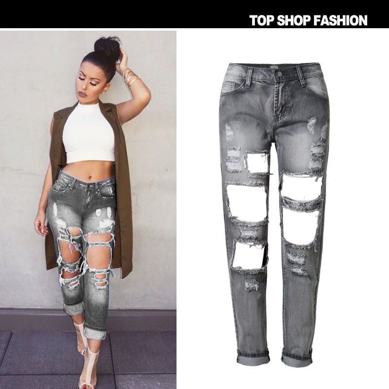 Online Get Cheap Denim Jeans Pants Women Hole Ripped Designer
