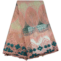 African Lace Fabric 2017 Hot Sale Nigerian French Lace Guipure Tulle African Lace Fabrics With Stones For Dress 513B