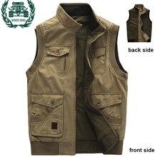 ZHAN DI JI пу бренд военный мульти карман мужской жилет весна и осень верхняя одежда жилет большой размер L-9XL 128