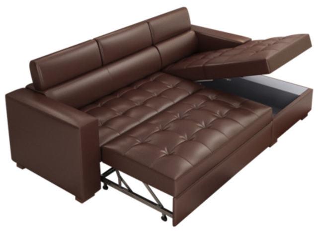 Leather Sofa Bed w/ Storage 1