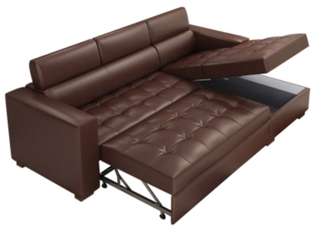 Cow Real Genuine Leather Sofa Bed With Storage Living Room Furniture Couch