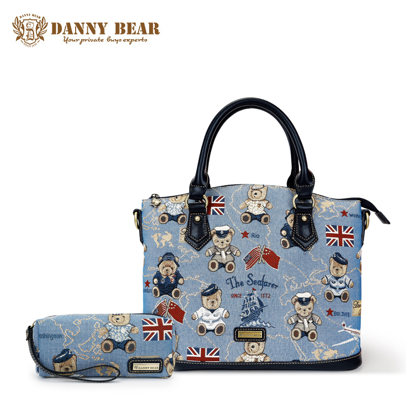 DANNY BEAR Women Korean Blue Handbag Teenager Girls Vintage Shoulder Bags Set With Mini Evening Party Clutch Purse Fashion Tote рюкзак danny bear db14859 3