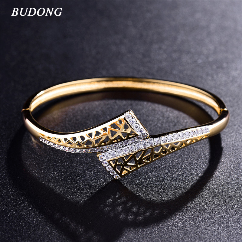 BUDONG New Fashion Hollow Indian Love Bangle for Women Silver/Gold-Color Bracelet White CZ Zircon Engagement Jewelry XUZ042