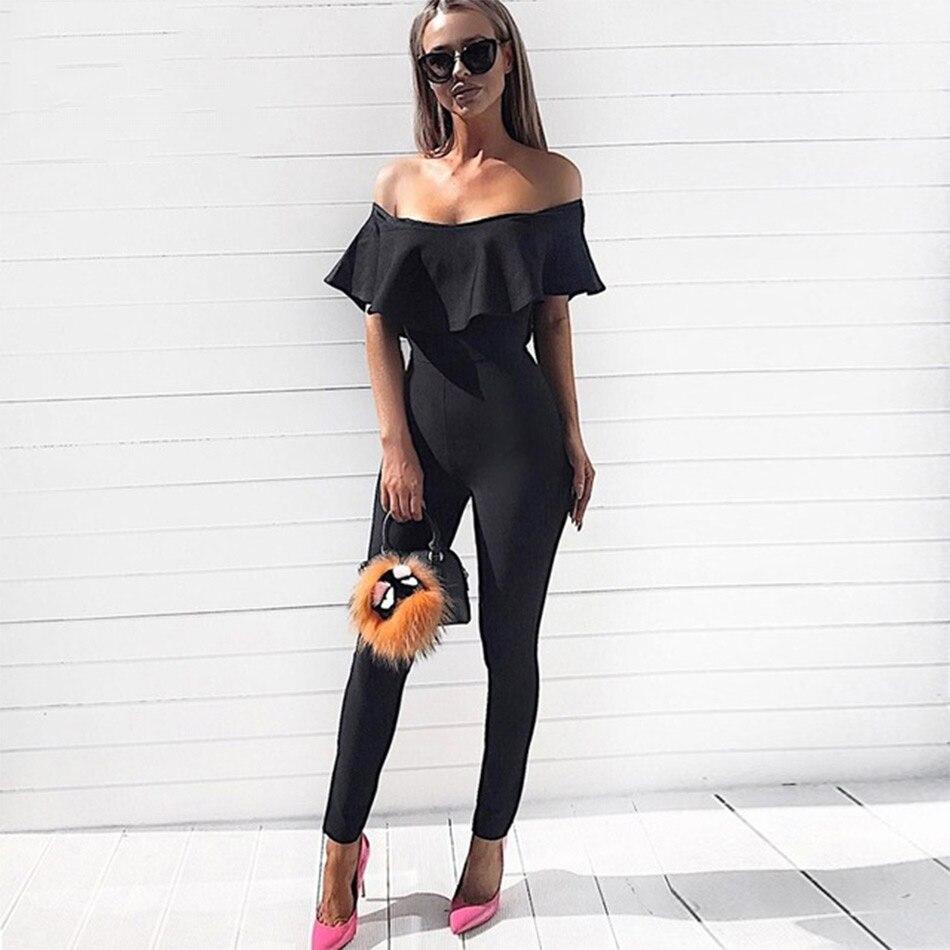 Seamyla 2019 New Fashion Bandage Jumpsuits Sexy Bodycon Ruffle Rompers Full Length Women Skinny Winter Club