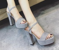 Elegant Dress Casual Solid Pink Grey Square Toe Ankle Buckle Strap Platform Sqaure High Heel Concise