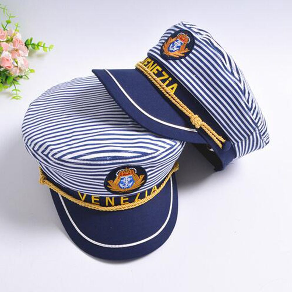 Stripe Captain Navy Hat Marine Skipper Cap Sailor Military Nautical Cap Fancy Dress 1 Pc Fashion New Hot