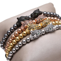 Fashion Hot Brand Men Bracelet 6mm Gold Plated Beads & Micro Pave Black Double Leopard Head Charm Briading Macrame Bracelet