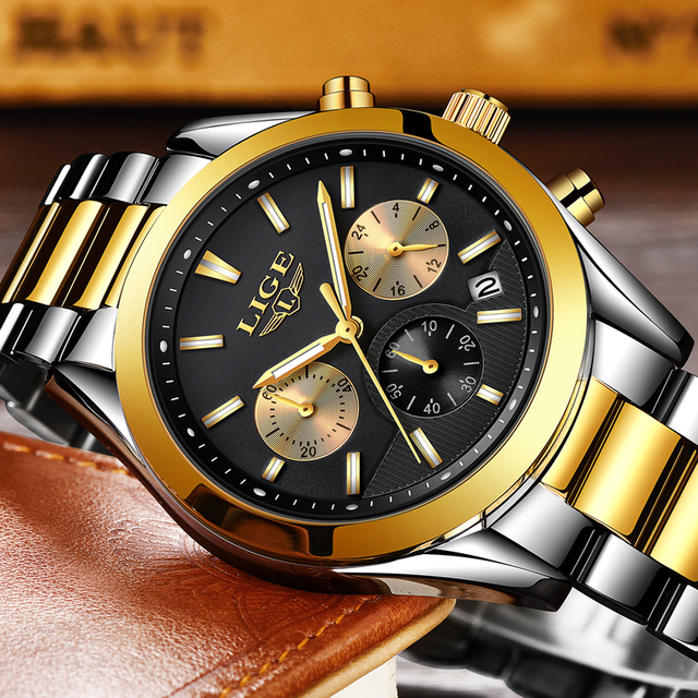 2020 New LIGE Watches Mens Military Waterproof Top Brand Watches Stainless Steel Quartz Clock Man Full Steel Wrist Watch Relogio