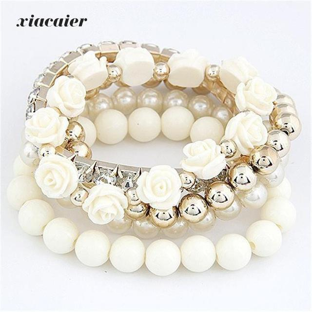 Xiacaier Bracelets For Women Sweet Flower Multilayer Beads Stretch Charm Bracelet Bangle Set Jewelry Costume jewelery Party Gift