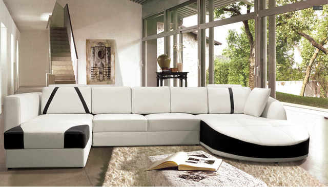 Bankstel woonkamer meubels Moderne Lederen hoekbanken met u vorm ...